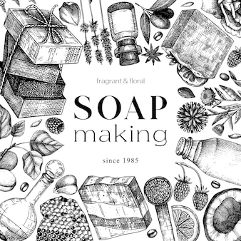 Handsketched soap frame design aromatic ingredients templfor cosmetics perfumery soap