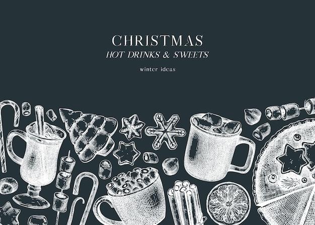 칠판에 손으로 스케치한 겨울 디저트와 뜨거운 음료 디자인