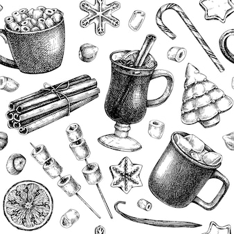 Handsketched winter desserts and hot drinks backdrop