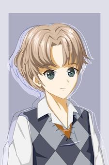 Красивый и крутой мальчик с единообразным дизайном персонажа из мультфильма