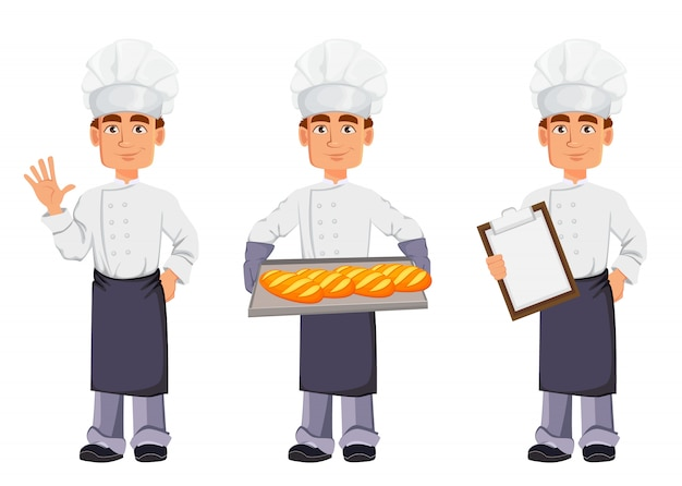 Handsome baker in professional uniform