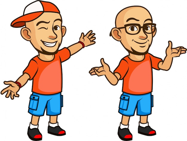 Handsome bald geeky young man in glasses cartoon