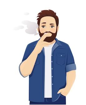 캐주얼 옷을 입고 담배를 피우는 잘생긴 큰 남자. 격리 된 벡터 일러스트 레이 션