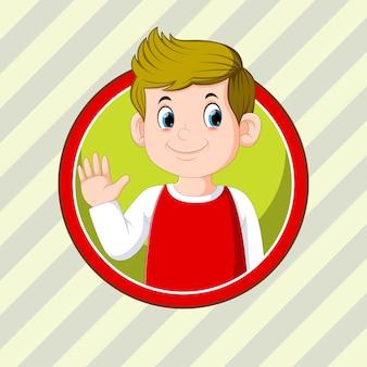 Красивый мальчик в красной рубашке с круглой рамкой