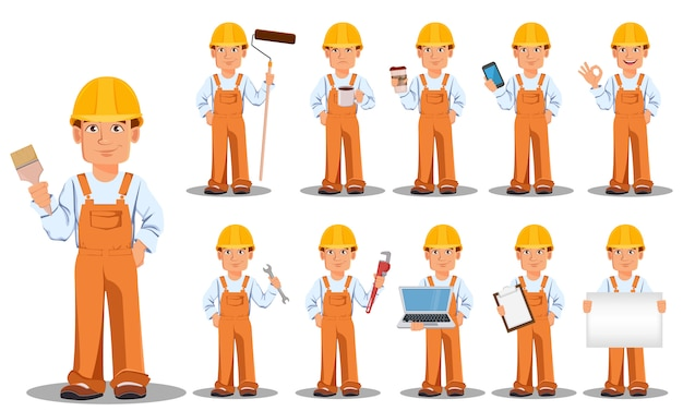 Handsome builder in uniform