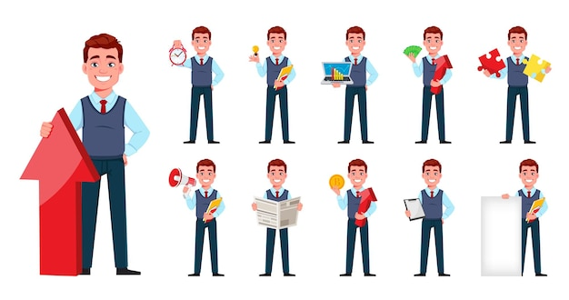 Красивый деловой человек молодой бизнесмен мультипликационный персонаж в плоском стиле установил одиннадцать поз