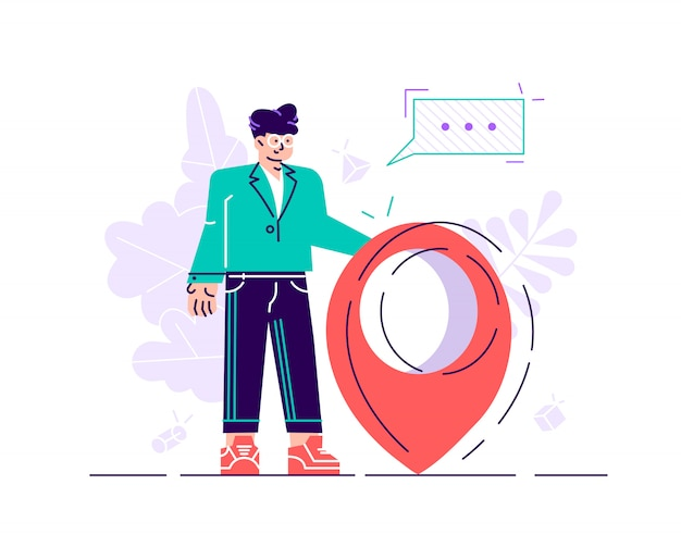 Handsome businessman is standing close to big map pointer. our office location. Premium Vector