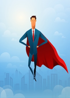 Красивый бизнесмен супер лидер летит перед гражданским городом и солнечным светом