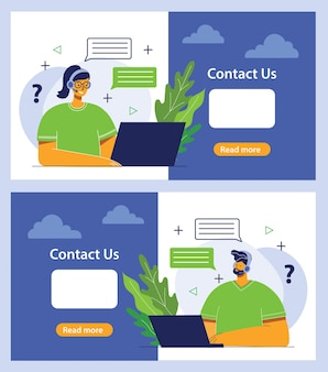 Handsome businesswoman and man with the inscription contact us flat design illustration