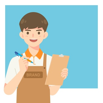Handsome cafe waiter in apron uniform, cartoon mascot character for illustration