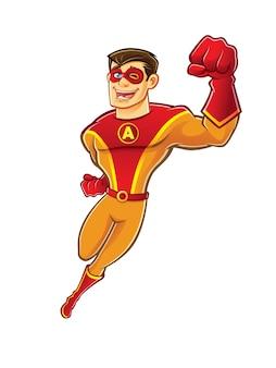 마스크를 쓰고 잘 생긴 만화 슈퍼 히어로가 행복하게 깜박이고 웃고있는 동안 날고있다.