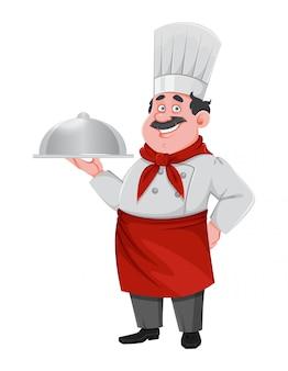 Красивый шеф-повар мультипликационный персонаж. веселый повар