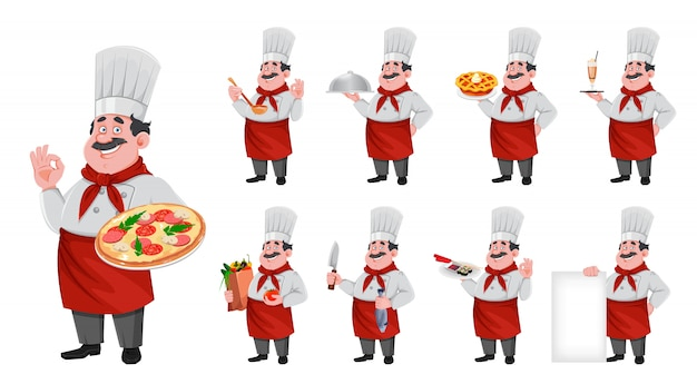 Handsome chef cartoon character. cheerful cook