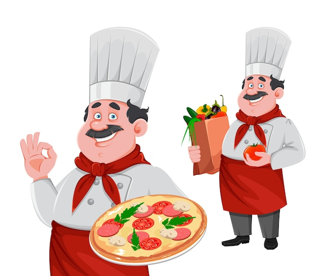 Handsome chef cartoon character, set of two poses. cheerful cook in professional uniform holding pizza and holding paper bag with vegetables. Premium Vector