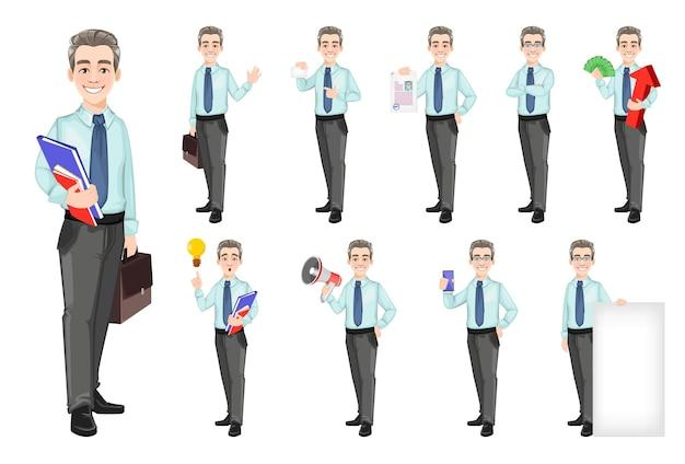 ハンサムで自信に満ちたビジネスマン、10ポーズのセット。ビジネスマンの漫画のキャラクター。株式ベクトル