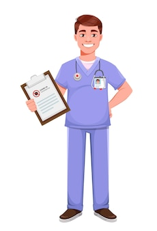 プロの制服を着たハンサムな医者。 covid-19予防情報をクリップボードに保持している男性医師。白い背景の上の株式ベクトルイラスト