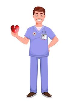 전문 제복을 입은 잘생긴 의사. 붉은 마음을 들고 남성 의사입니다. 흰색 배경에 스톡 벡터 일러스트 레이 션