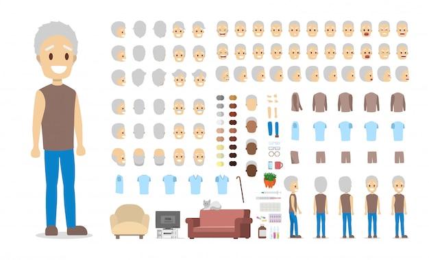 さまざまなビュー、ヘアスタイル、顔の感情、ポーズ、ジェスチャーでアニメーション用のハンサムな老人キャラクターセット。漫画のスタイルのイラスト