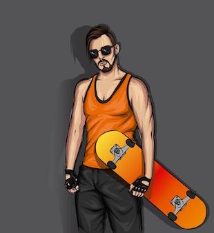 Красивый парень и скейтборд Premium векторы