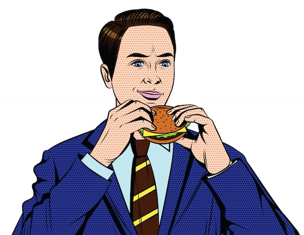 Handsome guy from 50-60s in suit eating fast food isolated from white background