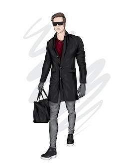 スタイリッシュなコートを着たハンサムな男。