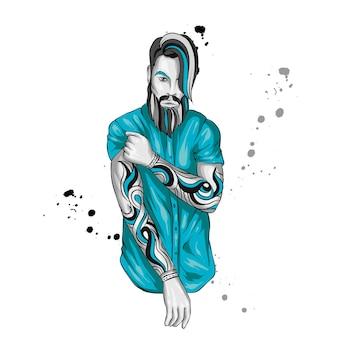 Красивый парень в стильной рубашке. татуировки.