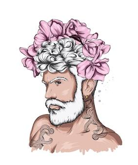花の花輪のハンサムな男