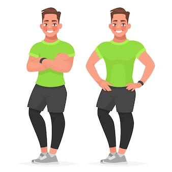 Красивый парень в спортивной одежде стоит в разных позах.