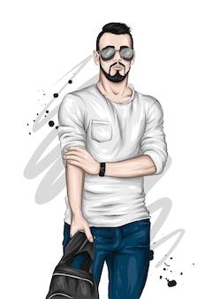 Красивый парень в стильной одежде и очках
