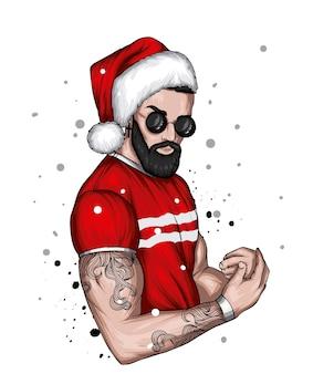 クリスマスと新年のサンタクロースのスタイリッシュな服と帽子のハンサムな男