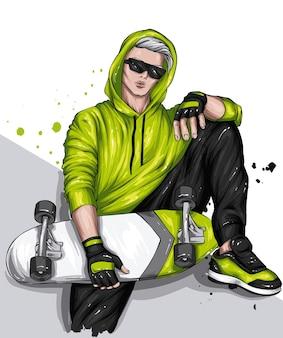 세련된 옷과 스케이트 보드에 잘 생긴 남자