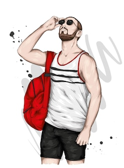 Красивый парень в стильной летней одежде