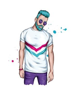 Красивый парень с бородой в стильной футболке и очках