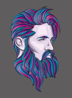 Красивый парень с бородой. мужчина.