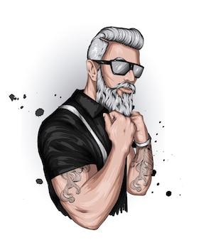 眼鏡とあごひげを持つハンサムな男