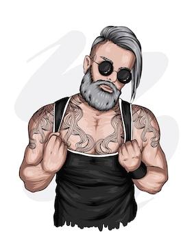 Красивый парень со стильной бородой прически и тату