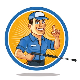 Handsome handyman carrying spray cartoon mascot logo