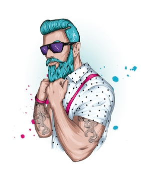 Битник красивый парень с бородой Premium векторы