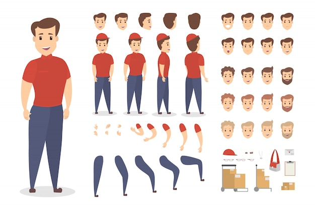 Handsome male courier character set for animation with various views, hairstyles, emotions, poses and gestures. different equipment such as bag, boxes and clipboard.   illustration