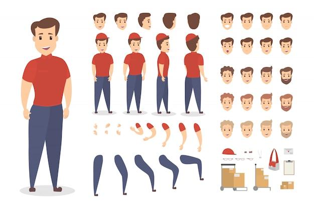 다양한보기, 헤어 스타일, 감정, 포즈 및 제스처가있는 애니메이션을위한 잘 생긴 남성 택배 캐릭터 세트. 가방, 상자 및 클립 보드와 같은 다른 장비. 삽화