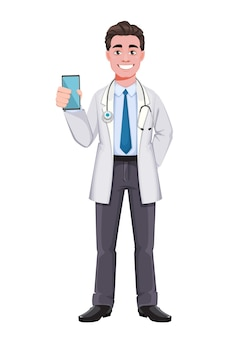 Handsome male doctor holding smartphone