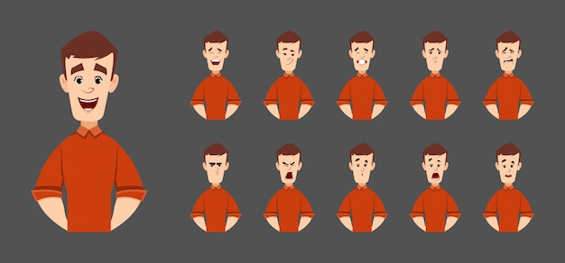 Handsome man character with various facial emotions and expression