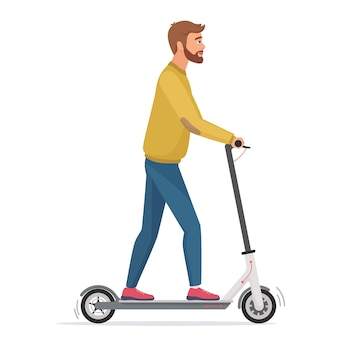Handsome man on electric scooter