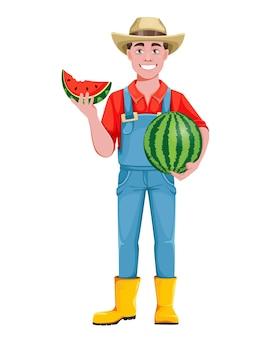 잘생긴 남자 농부입니다. 수분이 많은 수박을 들고 있는 쾌활한 남성 농부 만화 캐릭터. 흰색 배경에 스톡 벡터 일러스트 레이 션