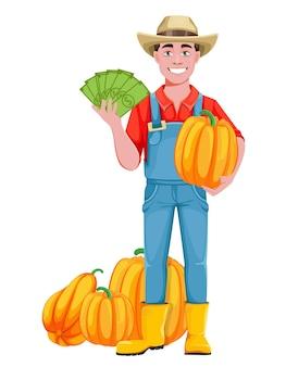 잘생긴 남자 농부입니다. 호박과 돈을 가진 쾌활한 남성 농부 만화 캐릭터