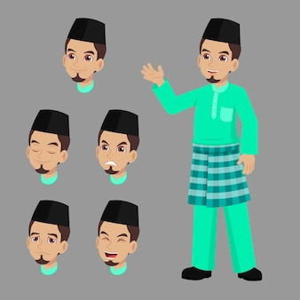 Handsome man in malay traditional clothes standing waved hand with set of face expression