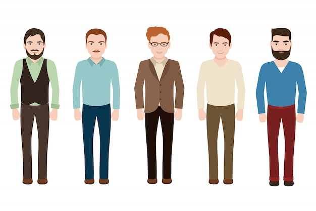 Handsome man wearing in casual european suits. young businessman in fashion clothes. vector male characters isolated