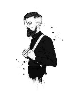 Красивый мужчина с бородой, хипстер