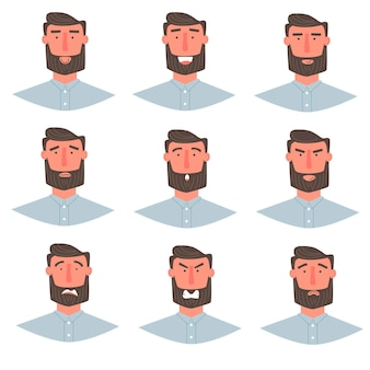 Handsome man with beard portrait with different facial expressions set isolated on white background. young guy smiling, happy, fear, angry, greeting emotions face vector character.