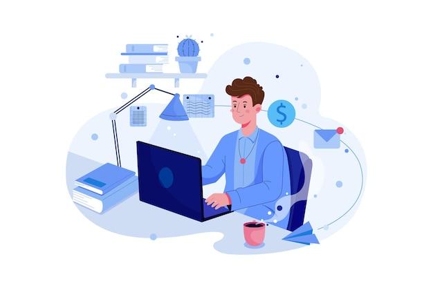 Красивый мужчина, работающий на своем ноутбуке